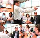 Collage di 'brainstorming' del gruppo di affari fotografia stock