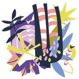 Collage di carta degli elementi floreali astratti Fotografie Stock Libere da Diritti
