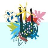 Collage di carta degli elementi floreali astratti Immagine Stock Libera da Diritti