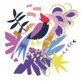 Collage di carta degli elementi floreali astratti Immagini Stock Libere da Diritti