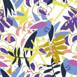 Collage di carta degli elementi floreali astratti Immagine Stock