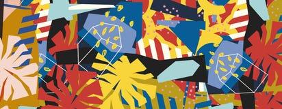 Collage di carta degli elementi floreali astratti Immagini Stock