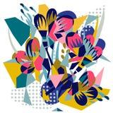 Collage di carta degli elementi floreali astratti royalty illustrazione gratis