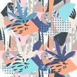 Collage di carta degli elementi floreali astratti illustrazione di stock