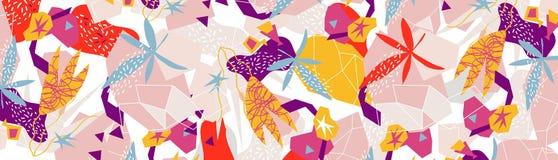Collage di carta degli elementi floreali astratti illustrazione di vettore disegnata a mano illustrazione di stock