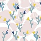 Collage di carta degli elementi floreali astratti illustrazione di vettore disegnata a mano illustrazione vettoriale