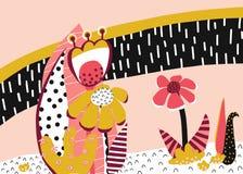 Collage di carta degli elementi floreali astratti di vettore Fiori i del collage illustrazione di stock