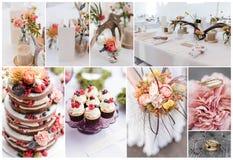Collage di cerimonia nuziale immagini stock