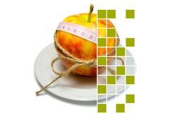 Collage di circondare della mela del nastro di misurazione legato con cordicella w Fotografie Stock Libere da Diritti