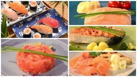 Collage di color salmone di ricette video d archivio