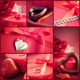 Collage di colore rosso di giorno del biglietto di S. Valentino Fotografia Stock