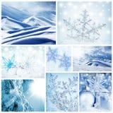 Collage di concetto di orario invernale Immagini Stock Libere da Diritti