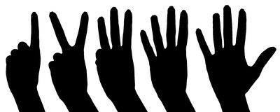Collage di conteggio delle mani della siluetta Fotografie Stock