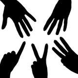 Collage di conteggio delle mani della siluetta Fotografia Stock
