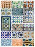Collage di disegno di Azulejo da Lisbona, Portogallo Immagine Stock