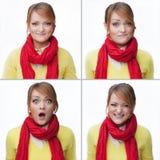 Collage di emozioni della donna isolato Fotografia Stock