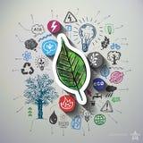 Collage di energia di Eco con il fondo delle icone Immagine Stock