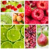 Collage di frutta e delle bacche Fotografia Stock Libera da Diritti