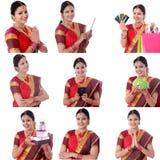 Collage di giovane donna indiana allegra con le varie espressioni sopra bianco Immagine Stock