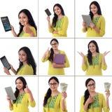 Collage di giovane donna indiana allegra con le varie espressioni sopra bianco Fotografie Stock Libere da Diritti