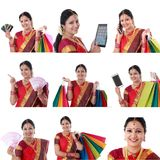 Collage di giovane donna indiana allegra con le varie espressioni sopra bianco Immagini Stock