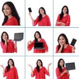 Collage di giovane donna indiana allegra con le varie espressioni sopra bianco Immagine Stock Libera da Diritti