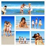 Collage di giovane donna sulla spiaggia Fotografie Stock