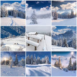 Collage di inverno con 9 paesaggi quadrati di Natale Immagine Stock