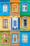 Collage di legno russo delle finestre, anello dorato, Russia Fotografie Stock Libere da Diritti
