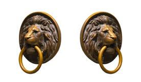 Collage di Lion Medalions dorato e bronzeo isolato negli angoli differenti Fotografie Stock Libere da Diritti