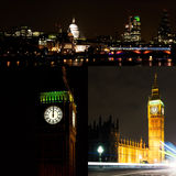 Collage di Londra di notte Fotografie Stock