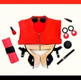 Collage di modo dello sguardo nero e rosso Fotografie Stock Libere da Diritti