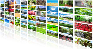Collage di molte foto Fotografie Stock Libere da Diritti