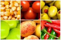 Collage di molte frutta e verdure Immagini Stock