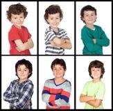 Collage di molte immagini con lo stesso bambino Fotografia Stock Libera da Diritti
