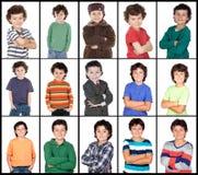 Collage di molte immagini con lo stesso bambino Fotografie Stock