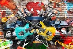 Collage di musica Fotografie Stock Libere da Diritti