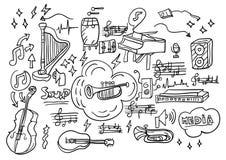 Collage di musica con il fondo delle icone royalty illustrazione gratis