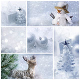 Collage di natale bianco fotografia stock
