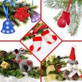 Collage di Natale dei giocattoli fatti a mano da feltro, vello Fotografie Stock Libere da Diritti