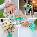 Collage di nozze in menta e nei colori blu fotografie stock libere da diritti