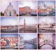 Collage di retro immagini della scaletta da Venezia in tonalità rosa e lilla fotografia stock