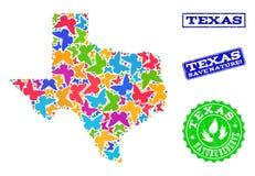 Collage di risparmio della natura della mappa di Texas State con le farfalle ed i bolli strutturati illustrazione vettoriale