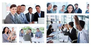 Collage di riunione d'affari di lavoro di squadra fotografia stock