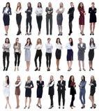 Collage di riuscita donna di affari moderna Isolato su bianco fotografie stock libere da diritti