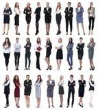Collage di riuscita donna di affari moderna Isolato su bianco fotografia stock libera da diritti