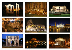 Collage di Roma di notte Immagini Stock Libere da Diritti