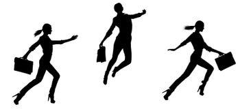 Collage di salto della siluetta del ` s della donna Immagini Stock Libere da Diritti