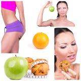 Collage di scelta di dieta Fotografia Stock