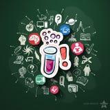 Collage di scienza con le icone sulla lavagna Fotografia Stock
